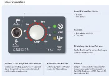Elektroden Inverter Schweißgerät MMA 160 tragbar SET + 3M 10V