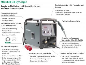 MIG MAG Inverter Teamwelder MIG 300 D3 Synergic PULS NEU