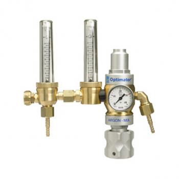 Zweistufiger, Druckminderer mit Schwebekörperanzeige zur Durchflussmessung und speziellem Durchflussmesser  Optimator 2