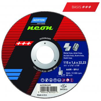 Trennscheibe für Stahl und Edelstahl  Norton Neon 230 x 1.9 x 22