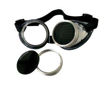 Schraubringbrille aus vernickeltem Eisenblech, mit Lederwulstpol