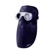 Ledermaske Vulkan Komfort mit Metallrahmen und Schutzbrille  LH